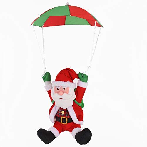 Raburg Weihnachtsmann mit Fallschirm – weiche XL Deko-Figur für Weihnachten mit Karohemd, 56 cm groß, Gesamthöhe 90 cm