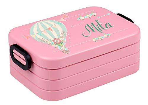 wolga-kreativ Brotdose Mädchen Luftballon mit Namen rosa Mepal Trennwand Lunchbox mit Fächer Brotzeitbox Vesperdose Mädchen Junge Kinder personalisiert