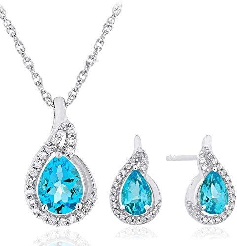 .925 Sterling Silver Pear Cut Swiss Blue Topaz...