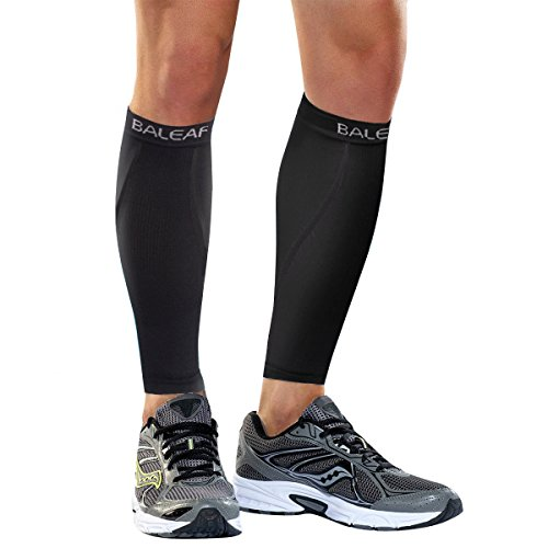 BALEAF Unisex Calf Compression Leg Sleeve Shin Support Calf Socks for Running, Cycling, Hiking, Shin Splints and Varicose Veins, Pure-Black, M(1 Pair)
