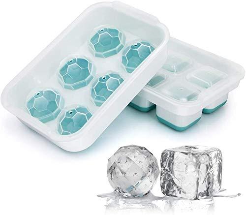 Cfbcc Eiswürfelbehälter 3er-Pack Flexible Silikon-EIS-Würfel-Behälter mit abnehmbarem Deckel, Easy Release 63 Eiswürfel, BPA-frei und stapelbare Spülmaschinenfest (Color : Light Blue)