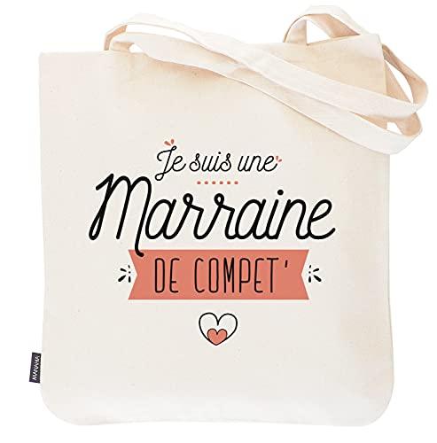 Totebag marraine - Je suis une marraine de compet' | Manahia | Sac imprimé en France 100% coton | cadeau pour marraine - demande marraine - annonce marraine - annonce naissance