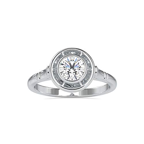 Anillo de compromiso con bisel certificado VVS de 0,5 quilates con diamante solitario de moissanita de corte brillante redondo para mujer, hecho en oro blanco, amarillo y rosa de 18 k (G-VS2)