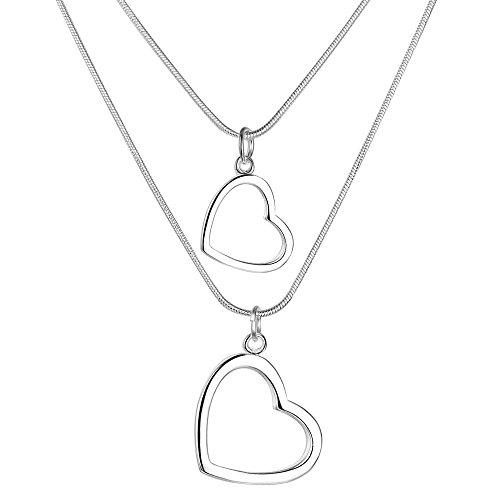 Onefeart Sterling Silber Anhänger Halskette für Frauen Mädchen Doppelt-Herzed Doppelt-Stranded Halskette 45cm