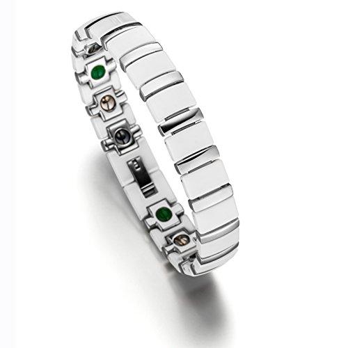 Lunavit Magnetschmuck, Damen und Herren Titan Keramik Gliederarmband, Magnetarmband mit Neodym-Magnete, Germaniumsteine und Jade Steine, Weiß Silber