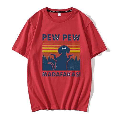 Funny Pew Pew Madafakas T-Shirt Humor Cat Digital Print Vintage 100% Cotton Summer Soft T Shirt