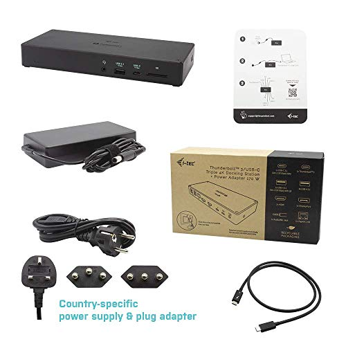 i-tec Thunderbolt 3 Dockingstation 3x4K mit 96W Stromversorgung - 1x Thunderbolt 3, 1x DisplayPort, 1x HDMI, 1x USB-C 3.1, 1x USB-A 3.1, 4X USB 3.0, 1x GLAN Ethernet, 1x Audio und SD-Slot