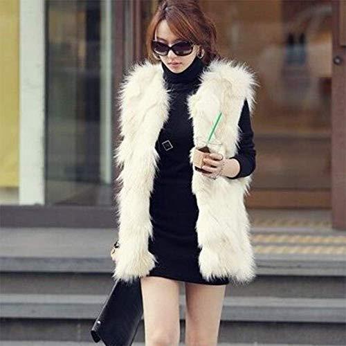 Sallypan Winter-Frauen Faux-Pelz-Mantel Bequeme Webpelz-Weste Fluffy Westen Weibliche Jacken Warm Fake Fur Gilet,XL