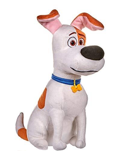 Whitehouse Leisure International Ltd. Mascotas (The Secret Life of Pets 2) - Peluche MAX, Perro Blanco con Manchas Marrones 29 cms. - Calidad Super Soft - Precio por Modelo (Sentado).