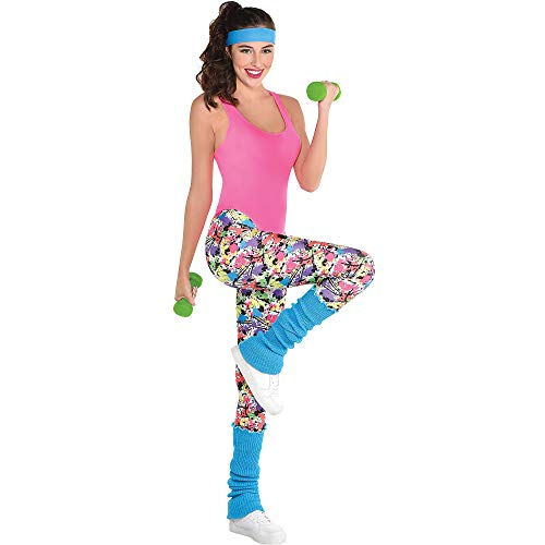 Adult 80s Workout Girl Retro Costume withblue headband, pink leotard, multicolor leggings, and blue leg warmers.