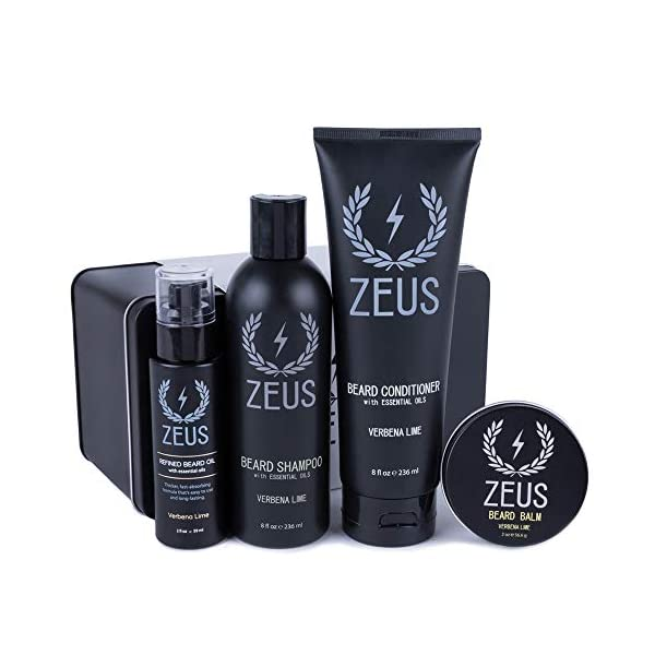 ZEUS Everyday Beard Care Kit – USA MADE – Beard Shampoo/Conditioner, Refined Beard Oil & Balm - Moisturizing & Smooth… 1