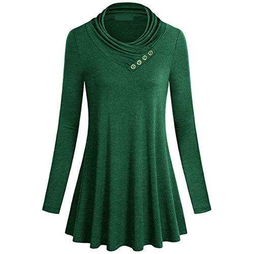 Damen Pullover T-Shirt Long Ärmel Rollkragen Slim-Fit Gemütlich Pleated Kleid Streetwear Outdoor Mode Casual Daily Wear Sweatshirt Frühling, Sommer und Herbst neu Knopfdekoration XL