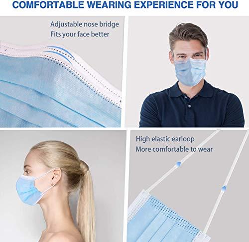 50 Einweg-Gesichtsmasken | Mund-Nasen-Bedeckung mit 3-lagigem Mundschutz, elastischem Gummizug und bequemem Universaldesign für Erwachsene - 5