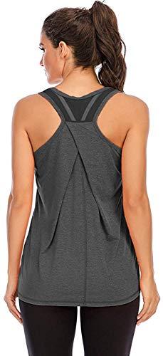 Nekosi Damen Sporttop Yoga Tank Top Oberteil Laufen Fitness Ärmelloses Mesh Zurück Funktions Shirt Grau Mittel