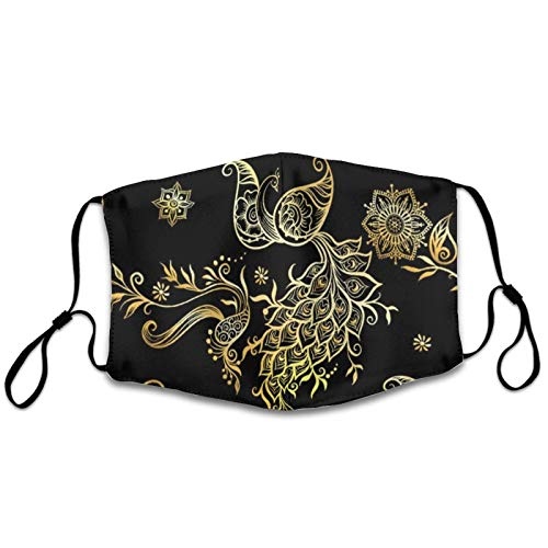NiYoung Soft Polyester Face Mask Adults Men Women Windproof Dustproof Mouth Shields with Adjustable Elastic Strap for Cycling, Black Golden Peacock Eastern Ethnic Style Mehendi Breathable Mouth Scarf