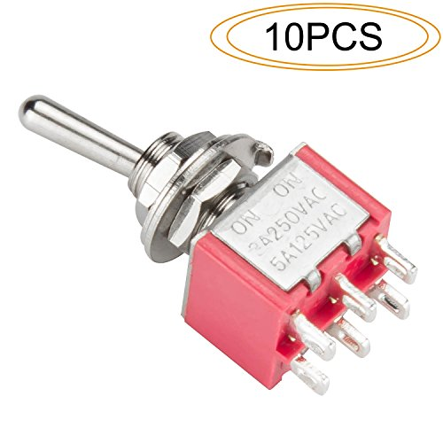 DIYhz Toggle Switch AC 5A/125V 3A/250V 6 Pin Terminals On/On 2 Position DPDT Toggle Switch Mini Miniature Toggle Switch Car Dash Dashboard,10Pcs