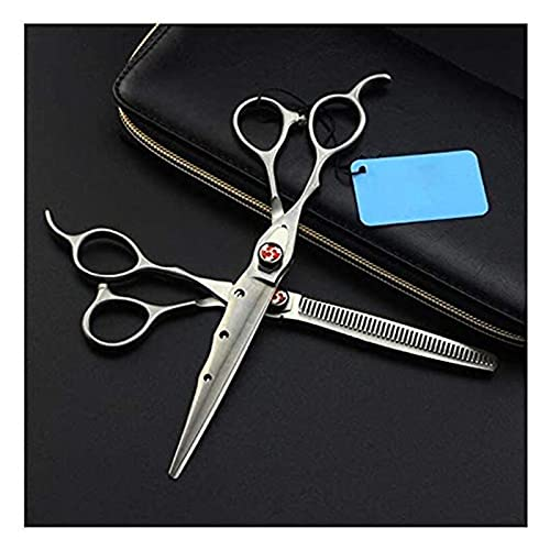 Tijeras cortando cizallas Peluquero Profesional de 7 pulgadas Scissors de cabello zurdo, adelgazamiento / texturizante Tijeras for peluquería / salón / Sets de cizallas for el hogar Caja hombres y muj