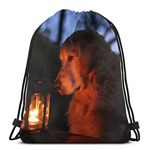Hund Laterne Nacht Unisex Kordelzug Rucksack Tasche Polyester Cinch Sack Wasserdicht Sport Gym Bag Casual Daypack für Frauen