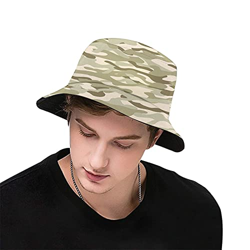 Camo,Classical Camouflage Pattern Simplicity in Green Tones Graphic,Bucket Hat,Fisherman Hats Summer Outdoor Packable Cap Travel Beach Sun Hat Unisex Couple Hats