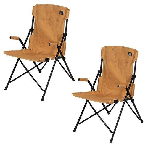 [クイックキャンプ] ハイバックチェア 2脚セット サンド QC-HFC*2 アウトドア用 軽量 折りたたみ チェア 椅子 イス 集束式 コンパクト