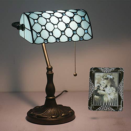 Zdfdfshj Lampe de Table Tiffany Design Floral américain rétro Lampe de Table de Bureau Lampe de Banque nostalgique Bar café Lampe (Size : Blue)