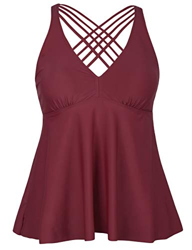 Firpearl Women's Tankini Swimsuits Cross Back Flowy Swim Tops Modest Swimwear US20 Red
