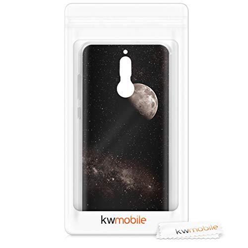 kwmobile Huawei Mate 10 Lite Hülle - Handyhülle für Huawei Mate 10 Lite - Handy Case in Mond Design Hellgrau Schwarz - 6
