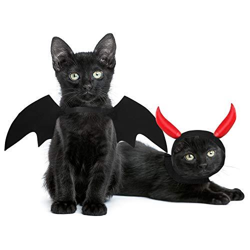 Frienda Haustier-Halloween-Kostüm, Haustier-Halloween-Kostüm, Tuch mit Teufelshörnern, Hut und Hundeumhang, Fledermausflügeln, Haustier-Kleidungszubehör für Katzen und Hunde