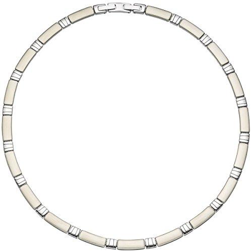 JOBO Collier Halskette Halsreif Edelstahl teil matt 47 cm Kette