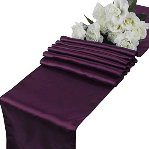 mds Pack of 10 Wedding 12 x 108 inch Satin Table Runner for Wedding Banquet Decoration- Eggplant