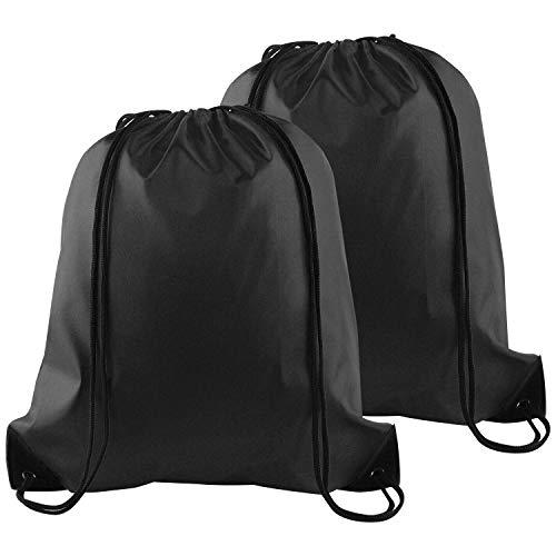 FEPITO 2 Pack Drawstring Backpack Bags Tote Sack Cinch Bag String Backpack for Gym Traveling, Black