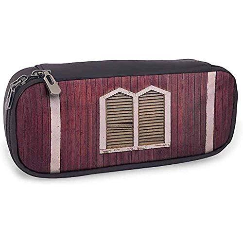 Leder Bleistift Tasche Fensterläden Fensterrahmen mit Fensterläden auf einer Holzwand Vintage-Stil Burgund und Pink