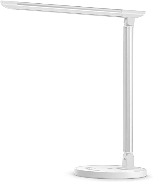 TaoTronics LED Desk Lamp Eye Caring Table Lamps Dimmable Office Lamp With USB Charging Port 5 Lighting Modes With 7 Brightness Levels Touch Control White 12W Philips EnabLED Licensing Program
