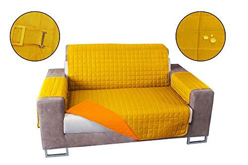 Banzaii Copridivano Antimacchia – Salvadivano Trapuntato Double Face – 2 posti Giallo/Arancio per Seduta da 115 a 140 cm