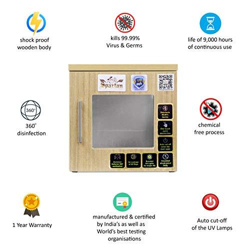 Spartan UV Box Sterilizer, Easy Plug-In Germ Disinfectant For Wallets, Keys, Food Packages, Vegetable, Fruits, Water Bottles, Mobile Phones, Household Items (Beige, 15 Ltrs)