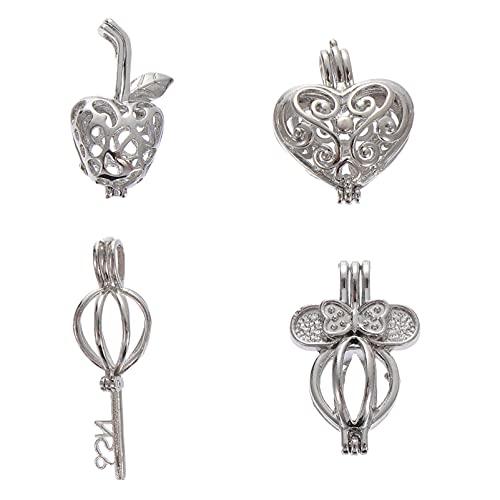 DOITOOL Lot de 4 médaillons diffuseurs d'huiles essentielles pour aromathérapie, pendentif arbre de vie en forme de cage pour collier, bracelet et fabrication de bijoux