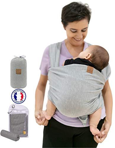 Fular Portabebe Dolbomy – Para Bebe – Tela de Algodon Elastico hasta 14 kg para Mujer y Hombre – Regalo para Bebes Recien Nacido – Incluye Saco y Toalla de Enfriamiento - Baby Wrap