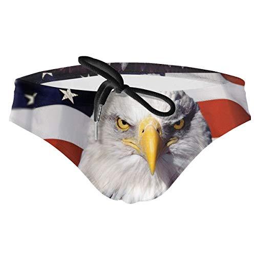 Breathing Yoga Men's Swimwear Briefs Swim Trunk Eagle American Flag Sexy Soft Triangle Thong Bikini Swimsuit