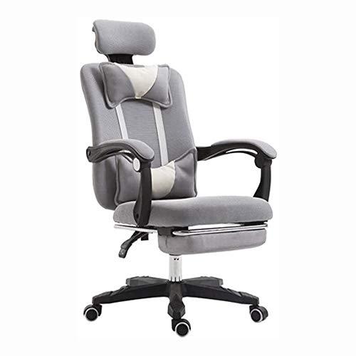 Schwenkbarer Bürostuhl Bürostuhl Schreibtisch aus Leder Gaming-Stuhl, hohe Rückenlehne Ergonomische Einstellbare Racing-Stuhl, Aufgaben Swivel Executive-Computer Stuhl Kopfstütze und Rückenstütze (fün