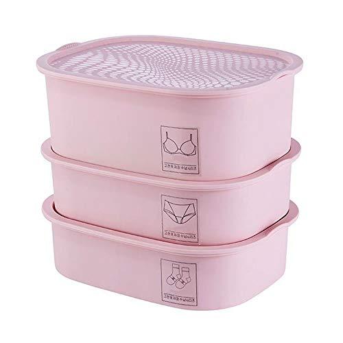 JBVG Caja De Almacenamiento del Dormitorio Armario dispensador y la Caja de almacenaje de la Ropa Interior y Todos los Accesorios Set 3 Ahorrar Mucho Tiempo (Color : Pink)