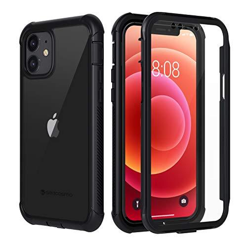 seacosmo Coque iPhone 12, Coque iPhone 12 Pro, Antichoc Coque avec Protège-écran Housse Full Body Protection Etui Transparent Integrale Bumper Simple Case Coque pour iPhone 12/Pro 6.1 Pouce -Noir