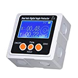 Mini Dual Axis Digital Angle Protractor Zinc Alloy Shell 360° Measuring Range LCD Display Backlight Digital Inclinometer with Magnet