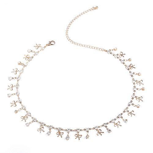 Colgante, collar de cobre hecho a mano, collar de oro con lazo de piedras preciosas populares de moda para mujeres