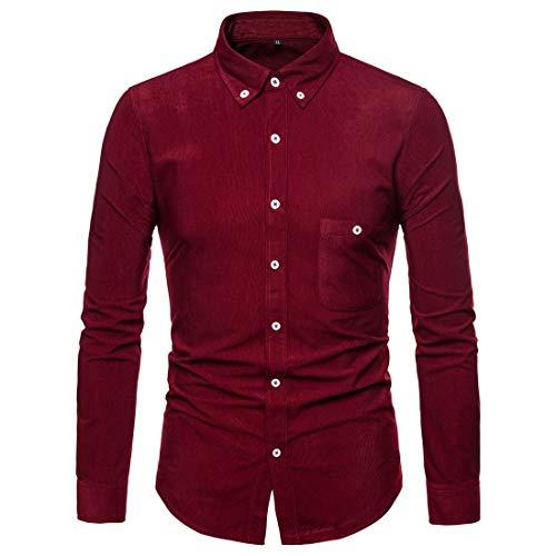 Lässiges Cord Slim Fit T Shirts Langarm Shirt Wein 2XL