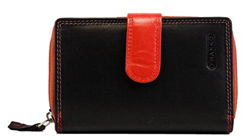 Damen Geldbörse aus Echt Leder mit 31 Kreditkartenfächer Lederbörse Frauen Portemonnaie Beidseitig bedienbar Geldtasche Brieftasche Franko 1650 (Rot Schwarz)