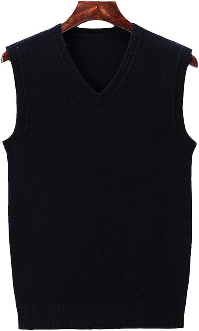 EGFIOKMJHT Sweater Men Autumn Winter Soft Warm Vest Men Casual V-Neck Sleeveless Knitwear Vest
