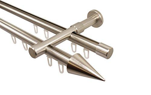 iso-design Edelstahl Optik Gardinenstange mit Innenlauf 2-läufig 20 mm Endstück Spitze, 160 cm