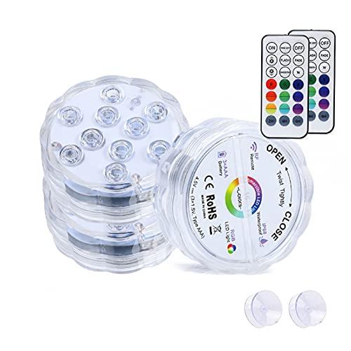 LED-Leuchten, LED-Duschleuchten, drahtlose Fernbedienung Tauchlichtknöpfe, volle wasserdichte LED-Leuchten, Fernbedienung Magnetische Schwimmbadscheinwerfer,Wireless,8.5cm