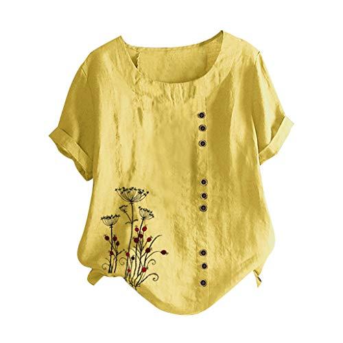 ELECTRI Chemisier pour Aux Femmes Décontractée Coton et Lin Chemises Couleur Unie O-Cou Manche Courte en Vrac Top Blouse