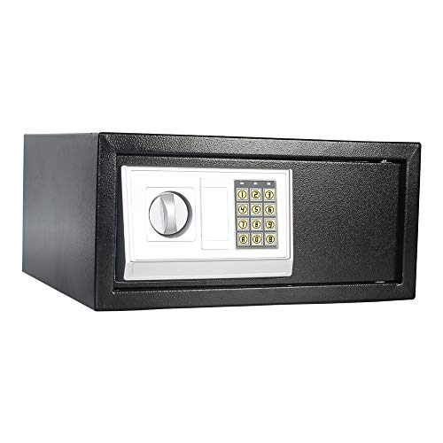Electronic Digital Security Safe Box 0.7 Cubic Feet Solid Steel Construction Keypad Drop Small Security Box Gun Cash Jewelry Box Wall-Anchoring Design for Home Office Hotel Business,Black Box/U-Eway